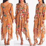 Blowing In The Wind Dress - Mustard Floral