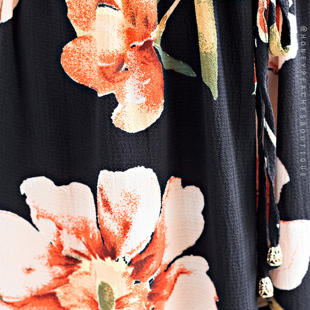 Fields Of Happiness Jumpsuit - Black Floral