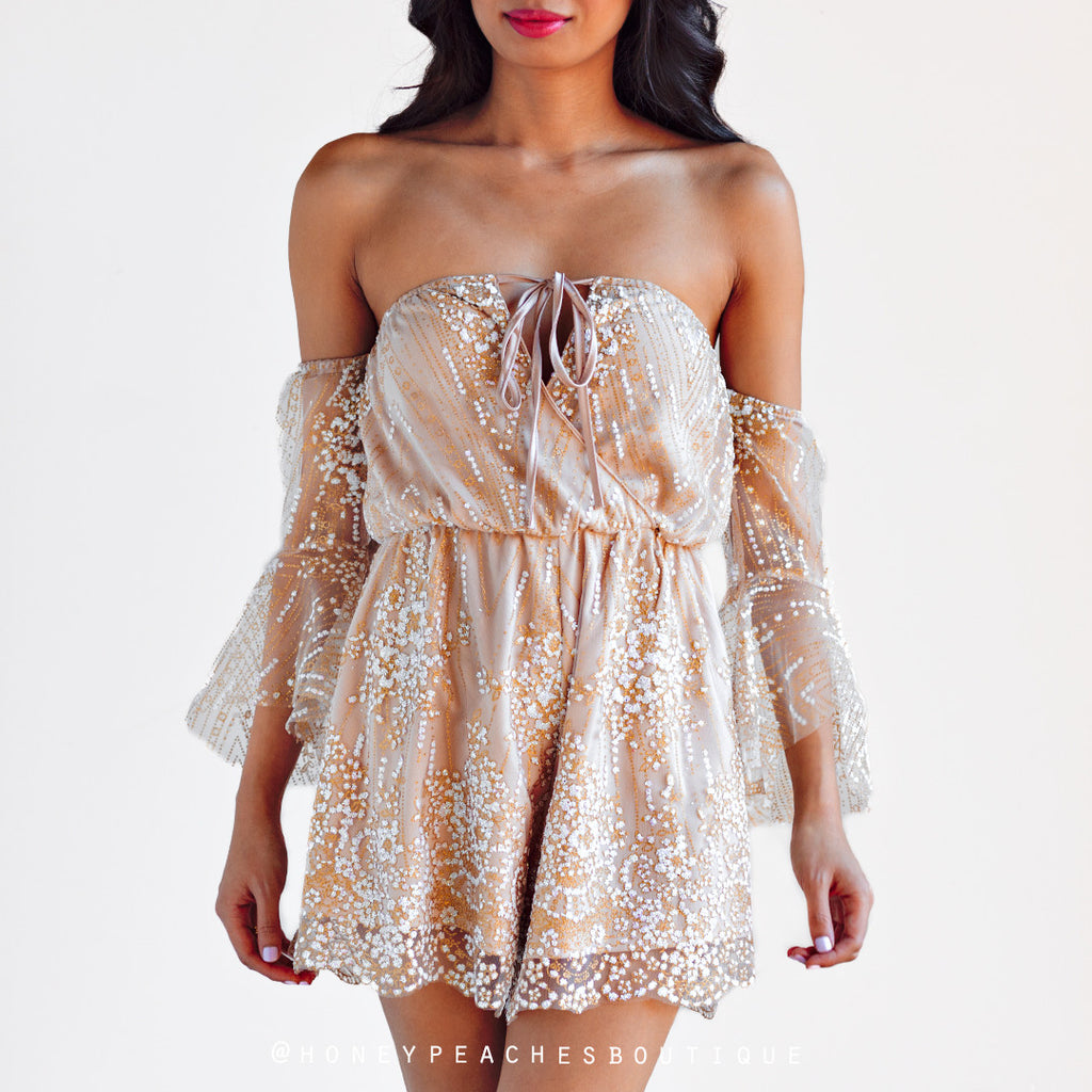 Dazzling Queen Playsuit - Nude/Gold