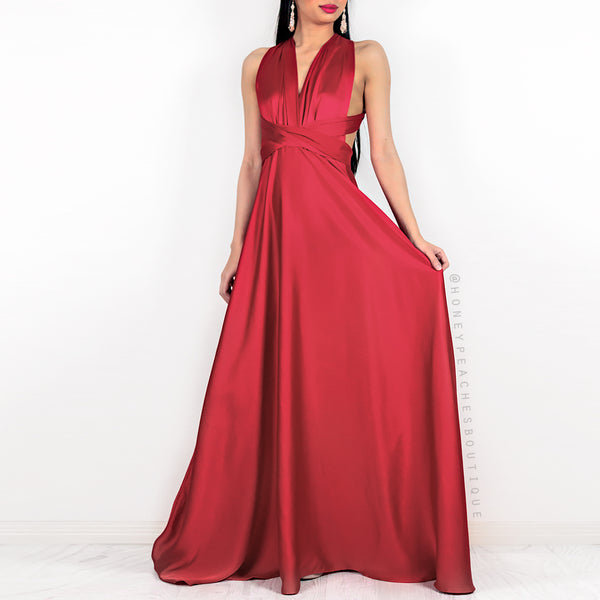3a694ad2e89 Amore Multi Way Maxi Dress - Red Satin – Honey Peaches