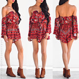Sweet Encounter Playsuit - Red Floral