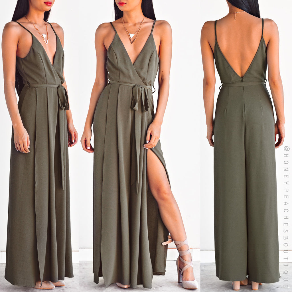 Just A Kiss Jumpsuit - Khaki