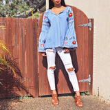 Desert Rose Top - Blue Chambray