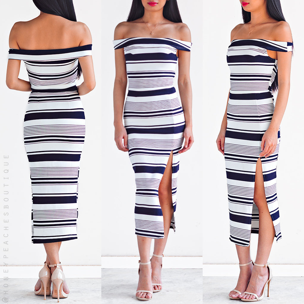 Lotus Midi Dress - Dark Navy Stripe