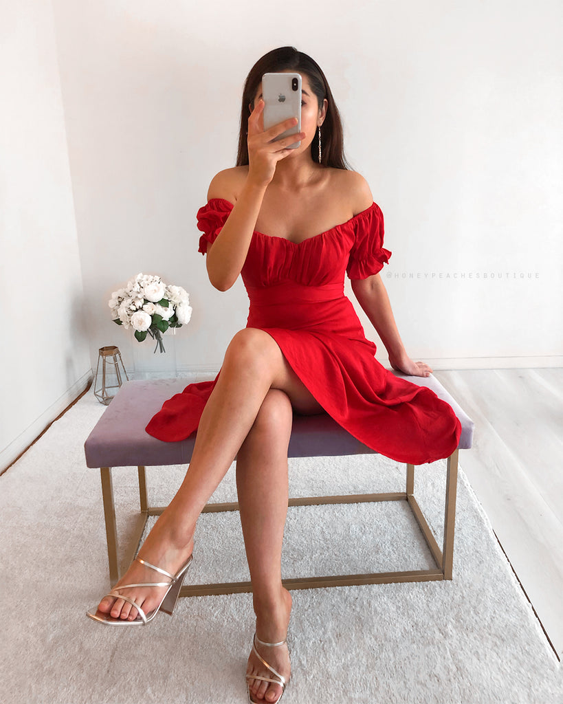 Dinah Midi Dress - Red