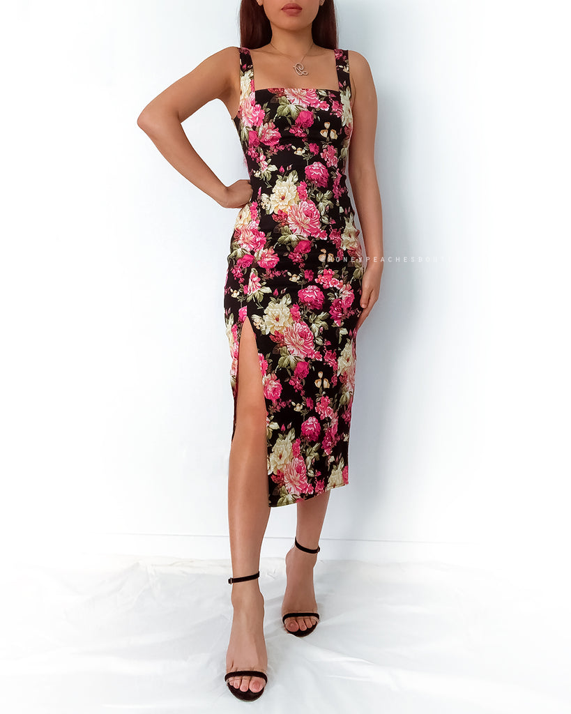 Ivy Midi Dress - Black Floral