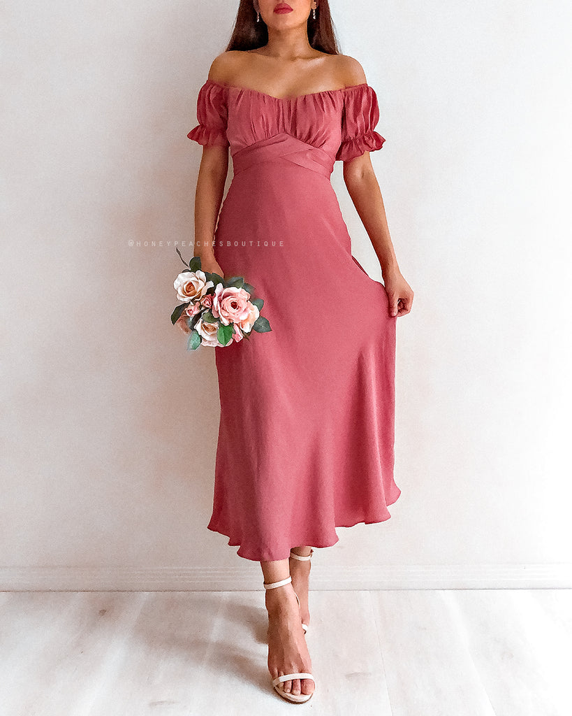Dinah Midi Dress - Dark Rose