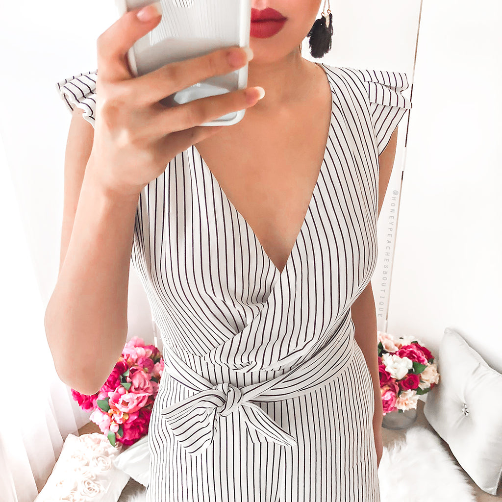High Tide Stripe Jumpsuit - Black/White