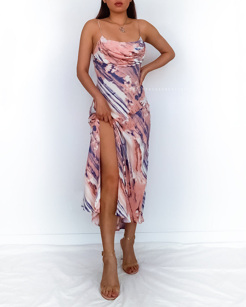 Sasha Midi Dress - Pink/Blue Multi Print