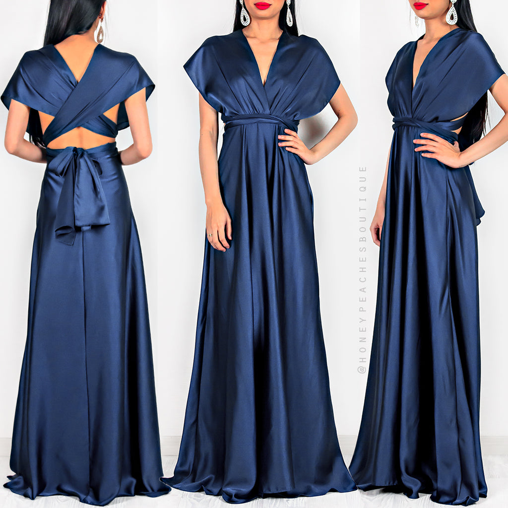 63f4961ff85 Amore Multi Way Maxi Dress - Navy Satin – Honey Peaches