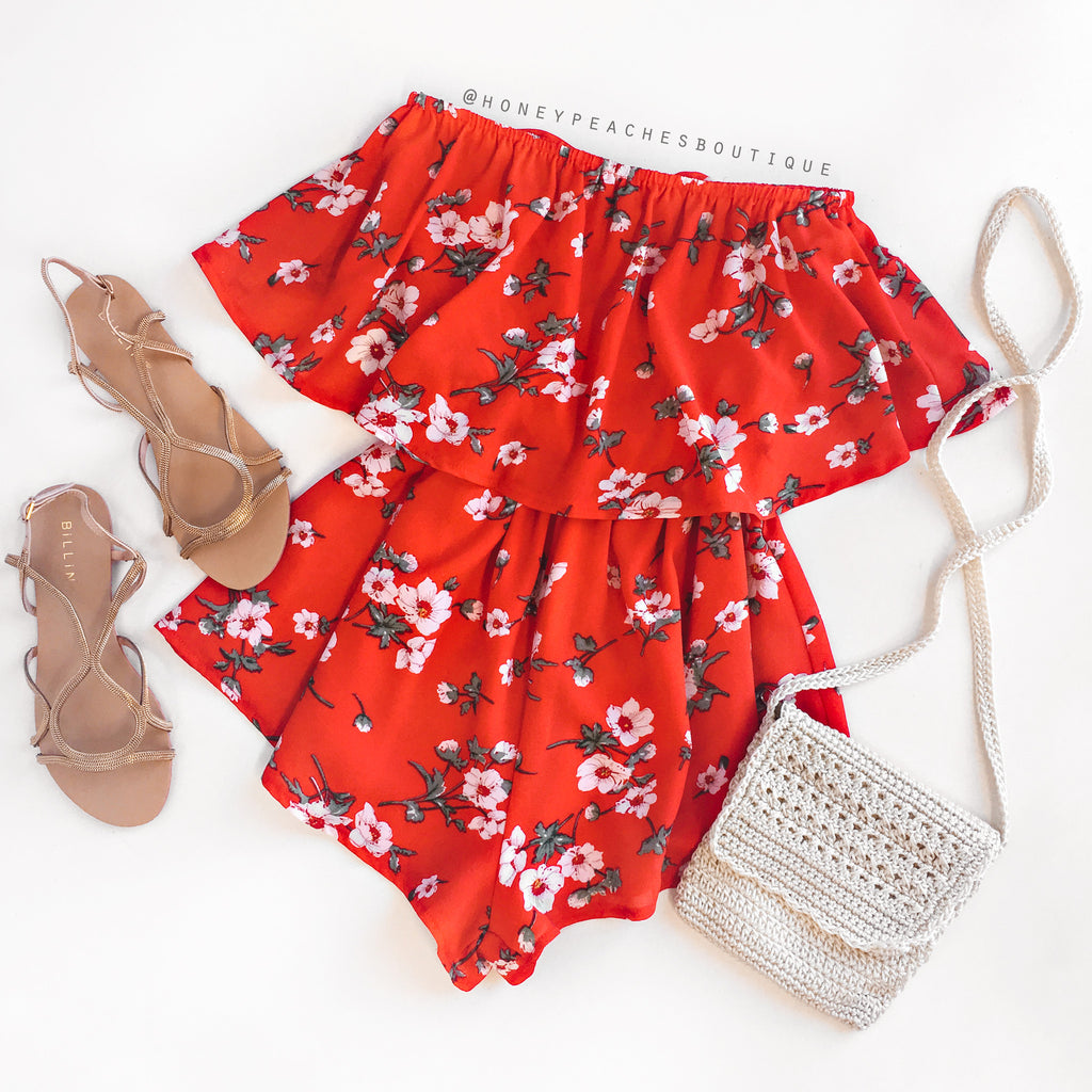 Runaway With Me Playsuit - Red Floral