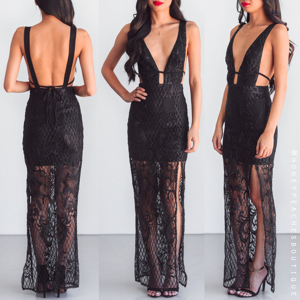 Crush On You Sequin Maxi Dress - Black