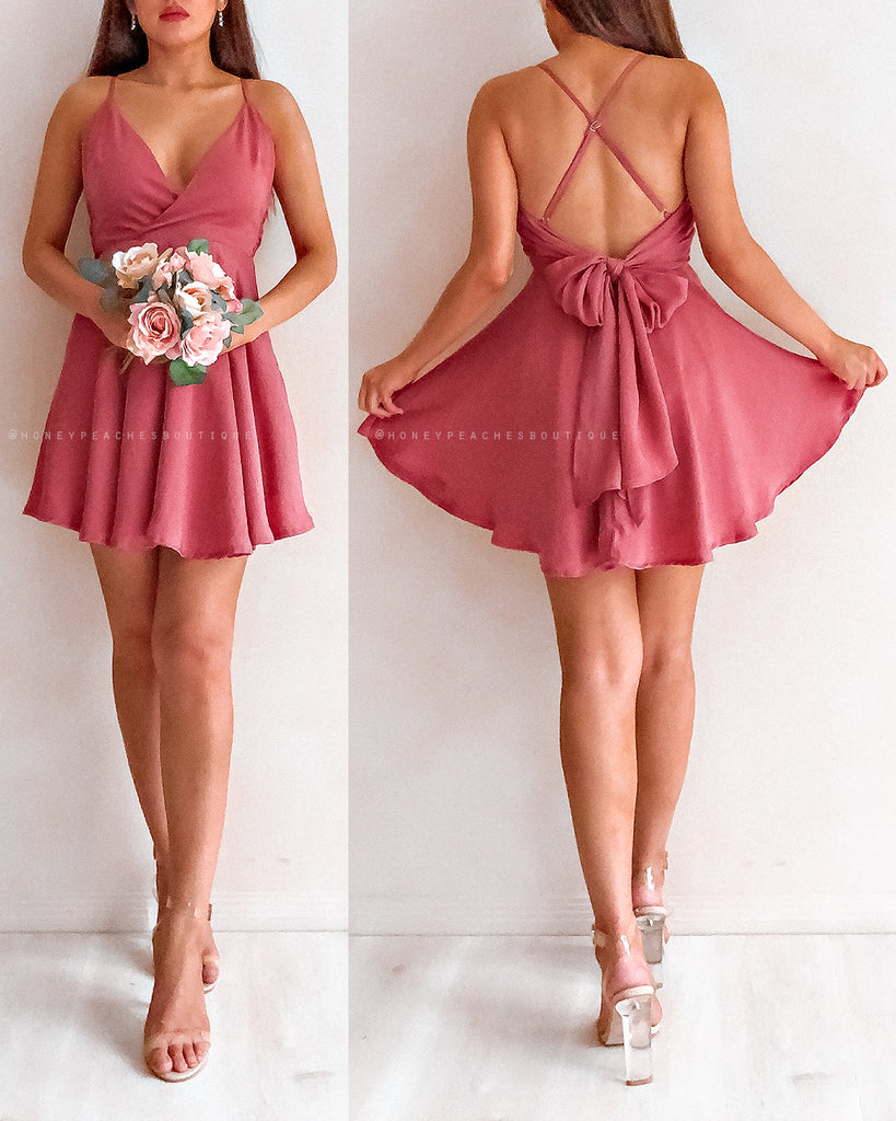 Gwen Mini Dress - Dark Rose