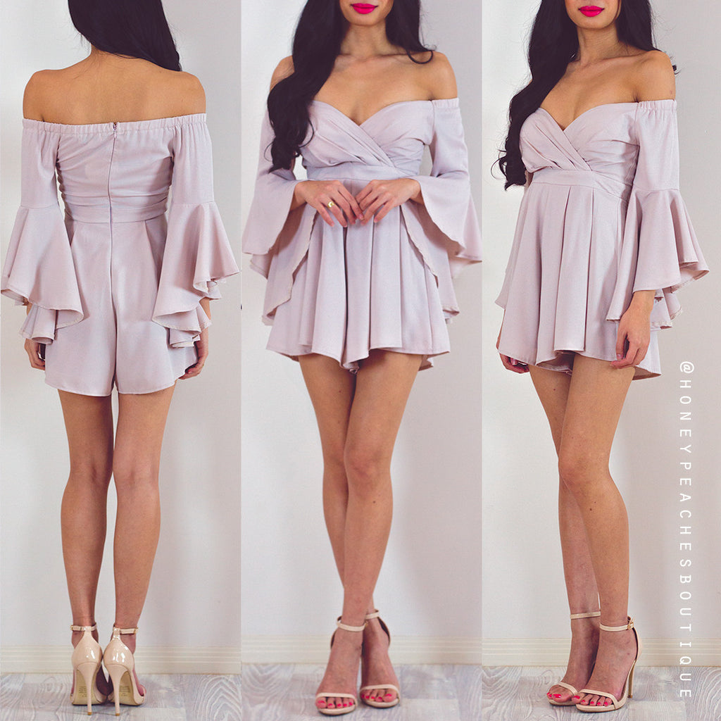 Stormy Nights Off Shoulder Playsuit - Beige