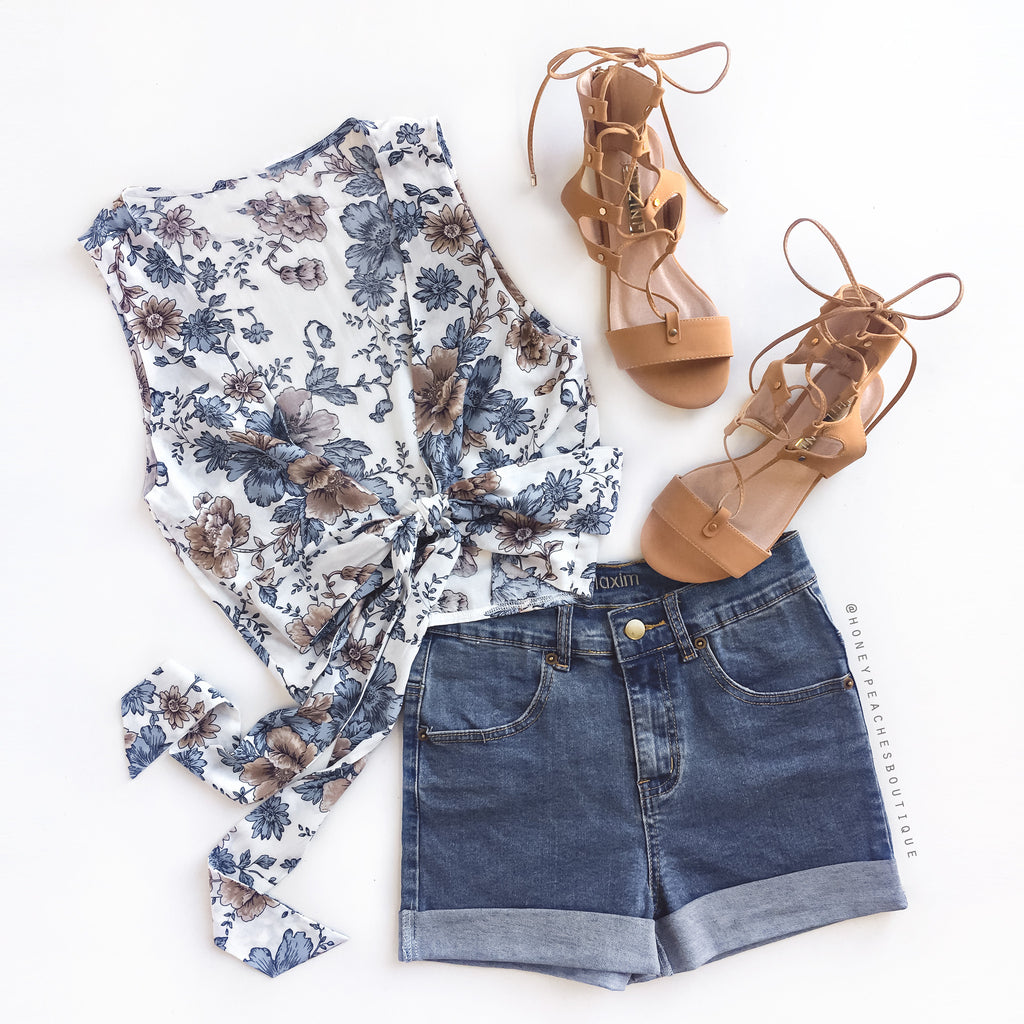 Wild Ocean Crop Top - Blue Floral