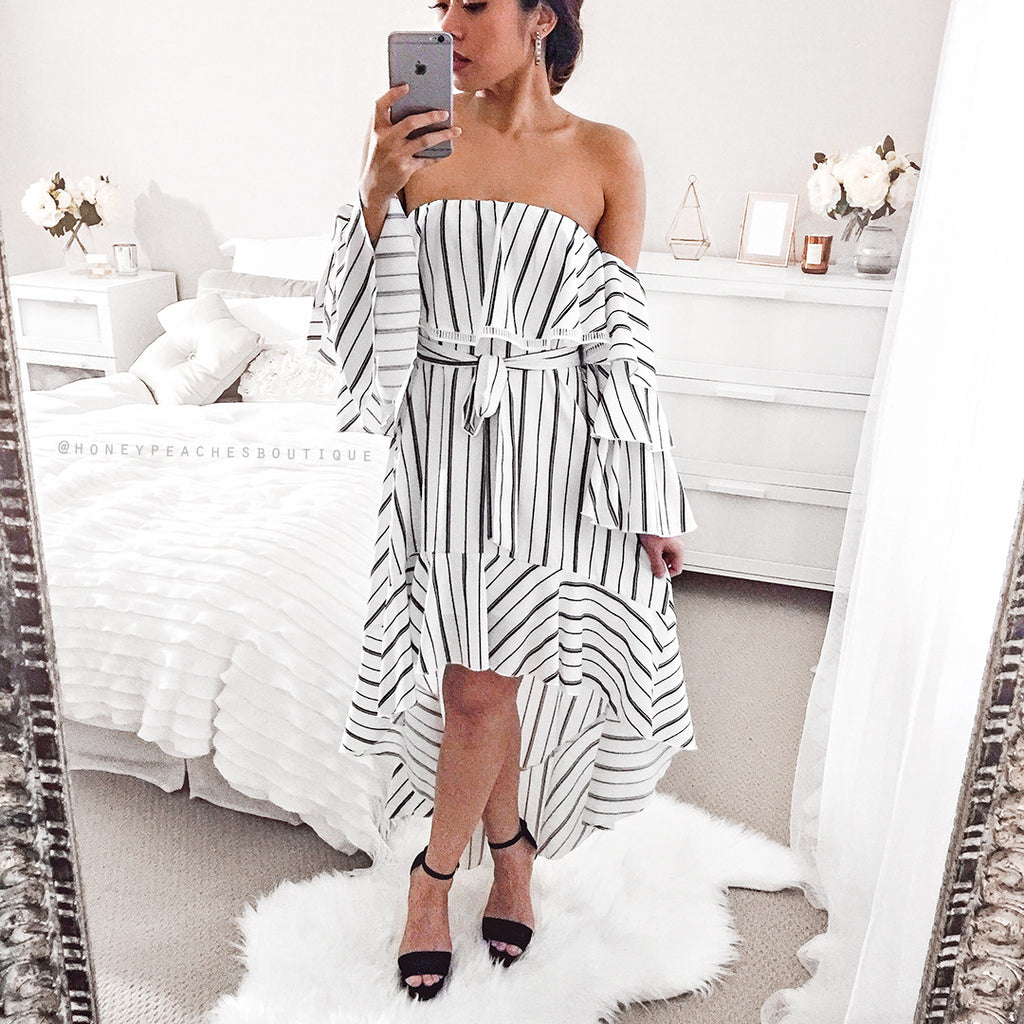 Arianna Dress - White/Stripe
