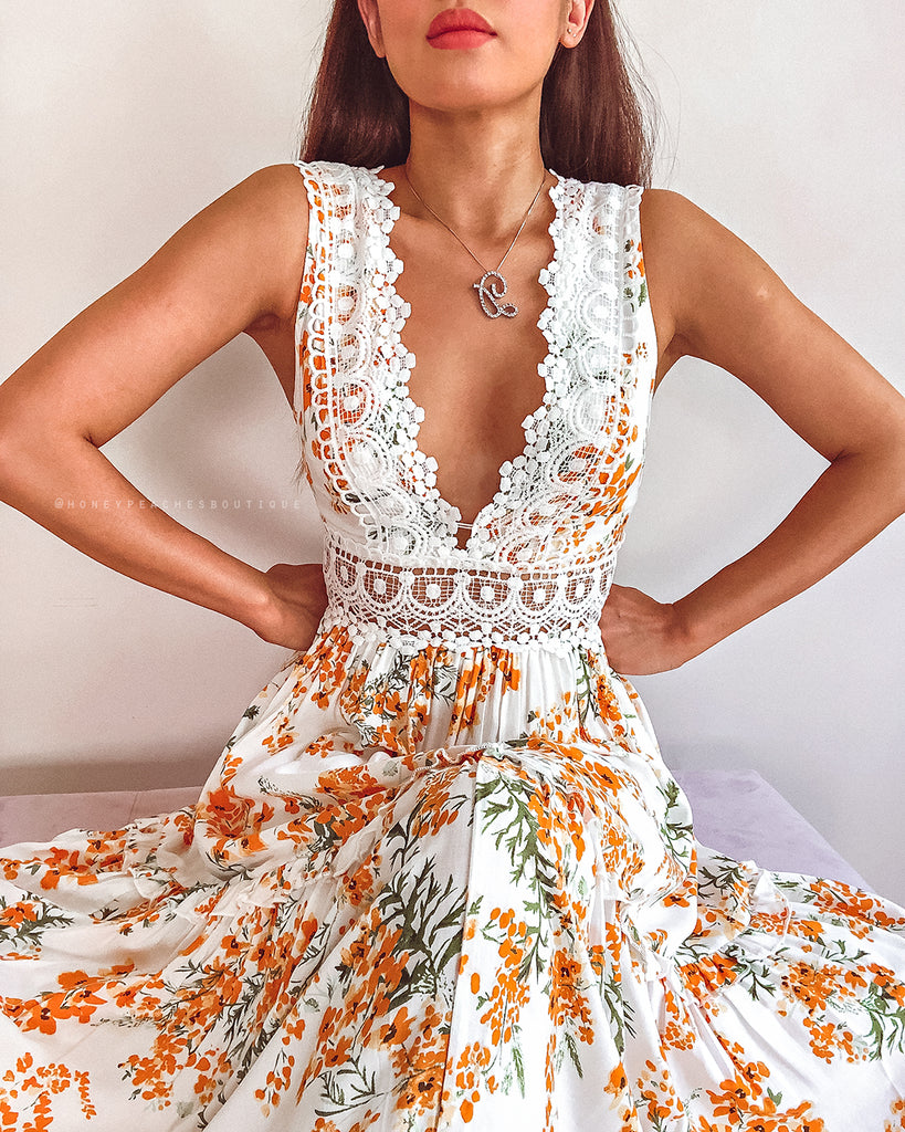 Braelyn Dress - Orange Floral