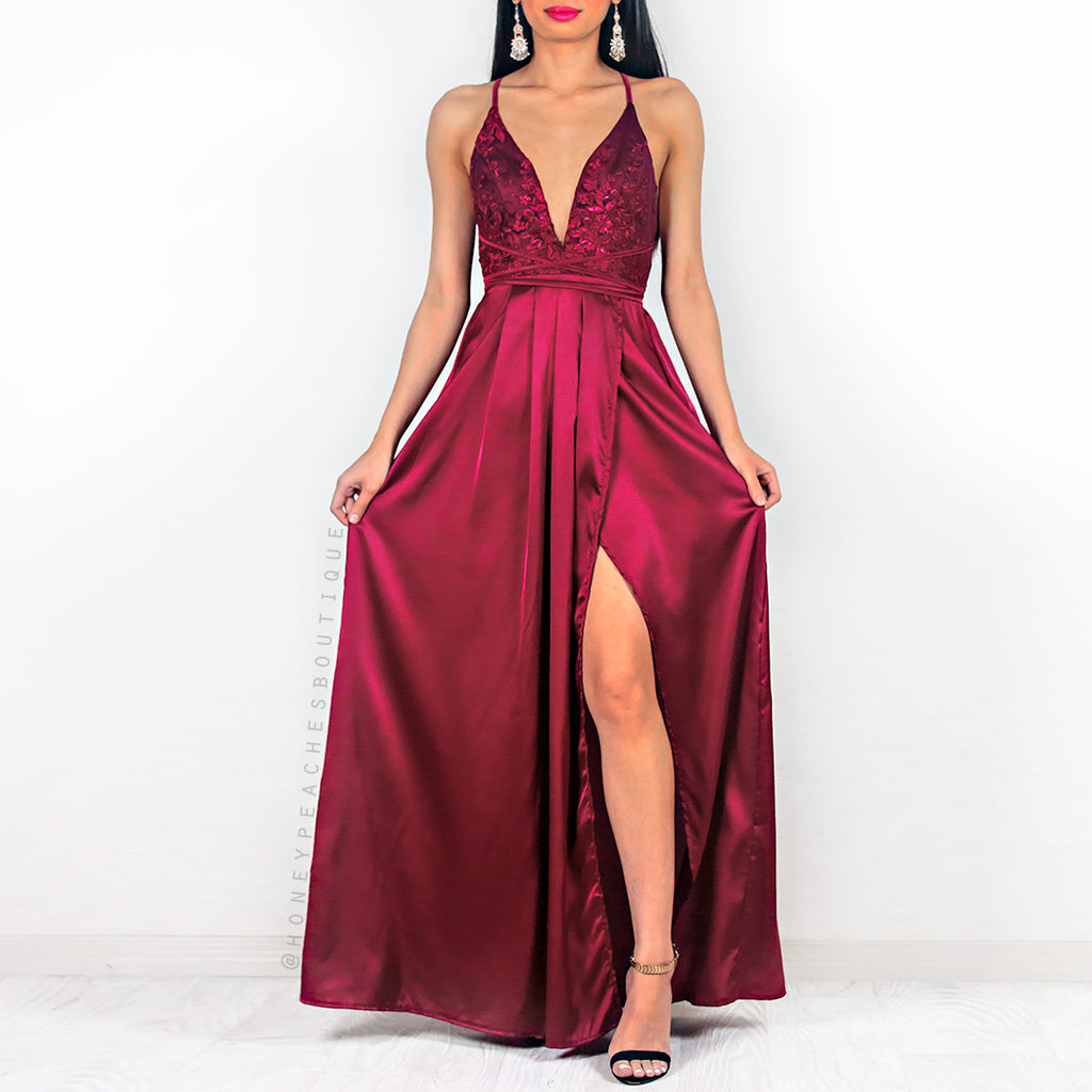 Star Of The Show Maxi Dress - Berry
