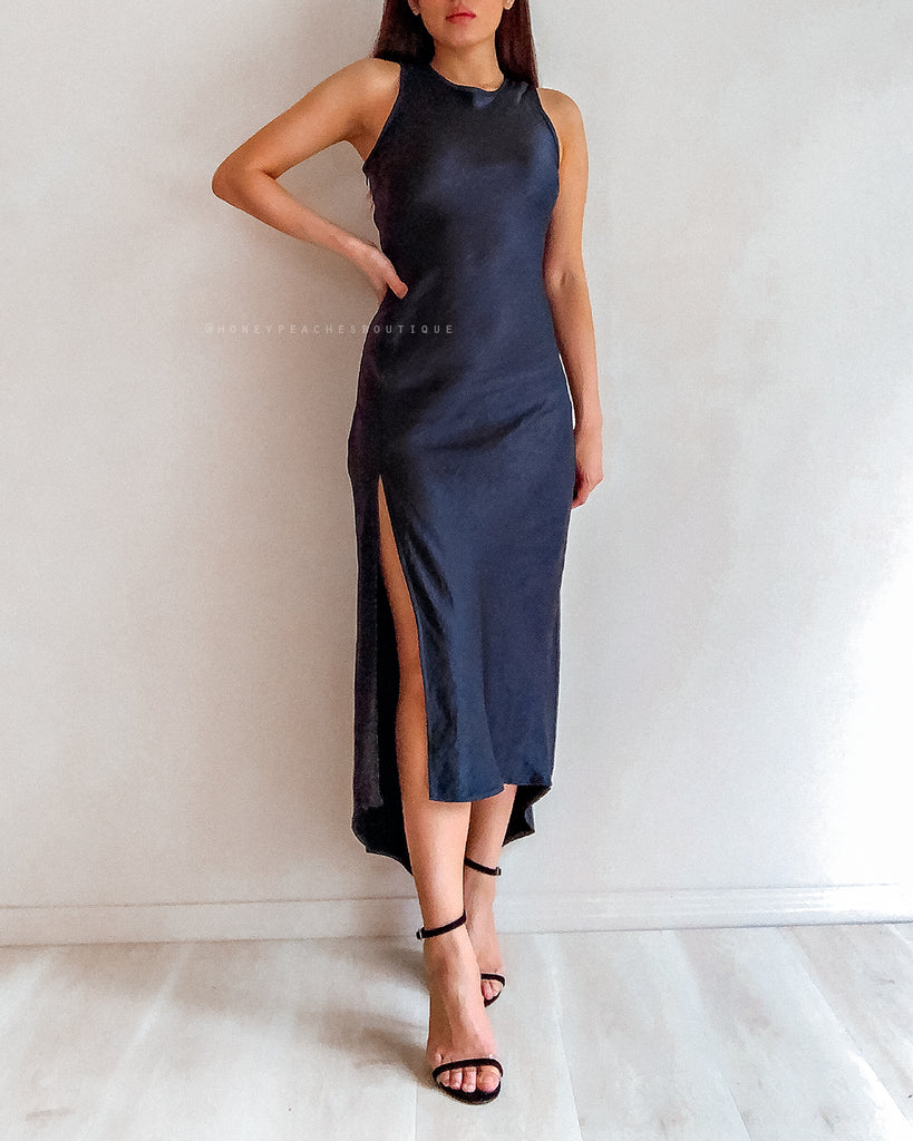 Yara Midi Dress - Navy