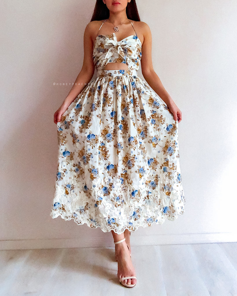 Felicity Midi Dress - Cream/Blue Floral