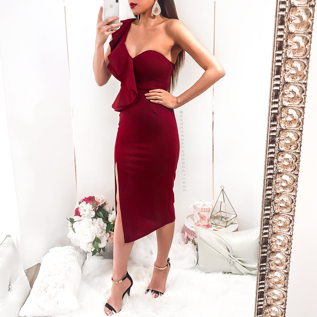 Art Of Love Midi Dress - Maroon