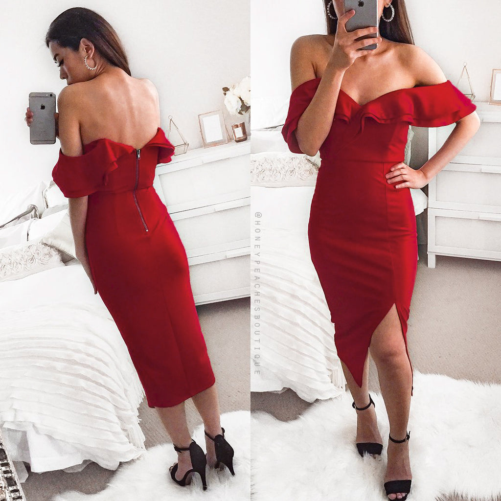 Faithfully Yours Midi Dress - Maroon