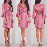Ready For Love Wrap Dress - Deep Dusty Pink