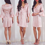 Ready For Love Wrap Dress - Light Pink