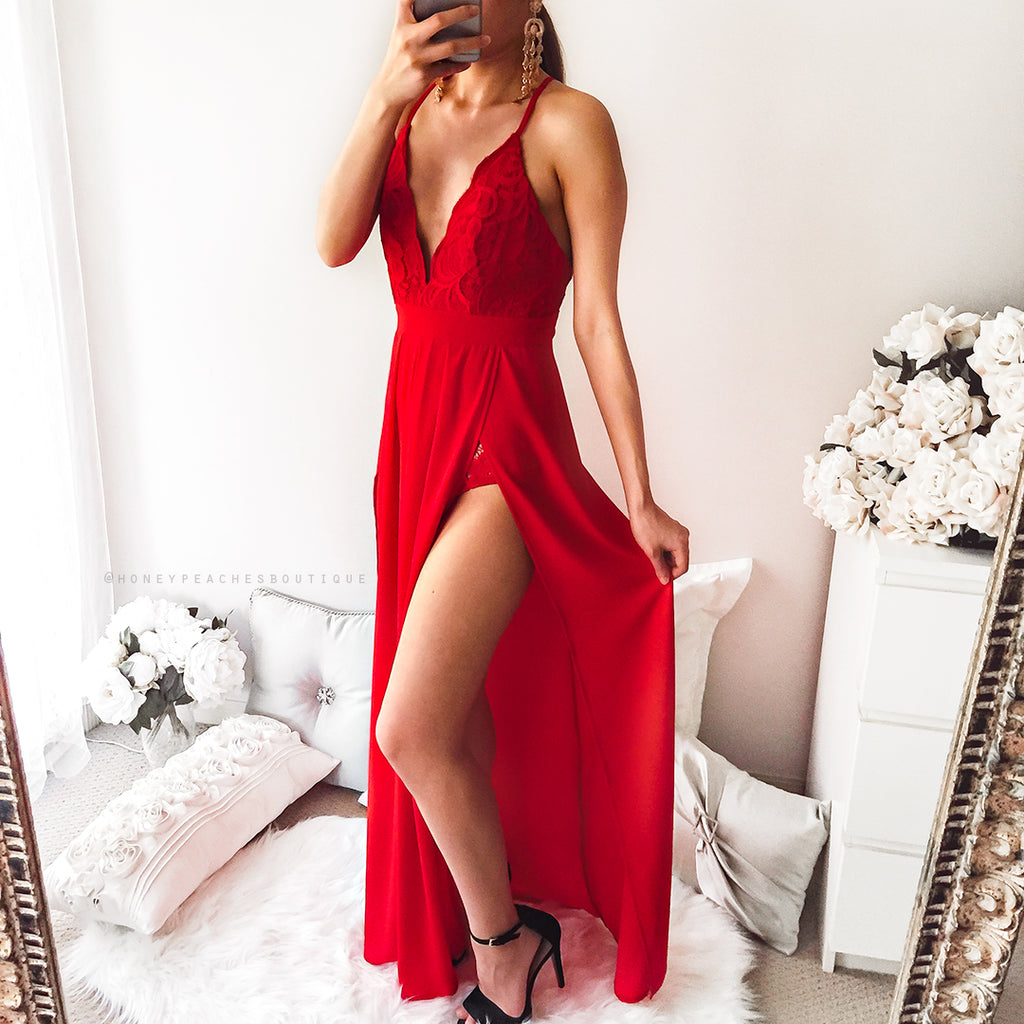 I Don't Mind Maxi Dress - Red