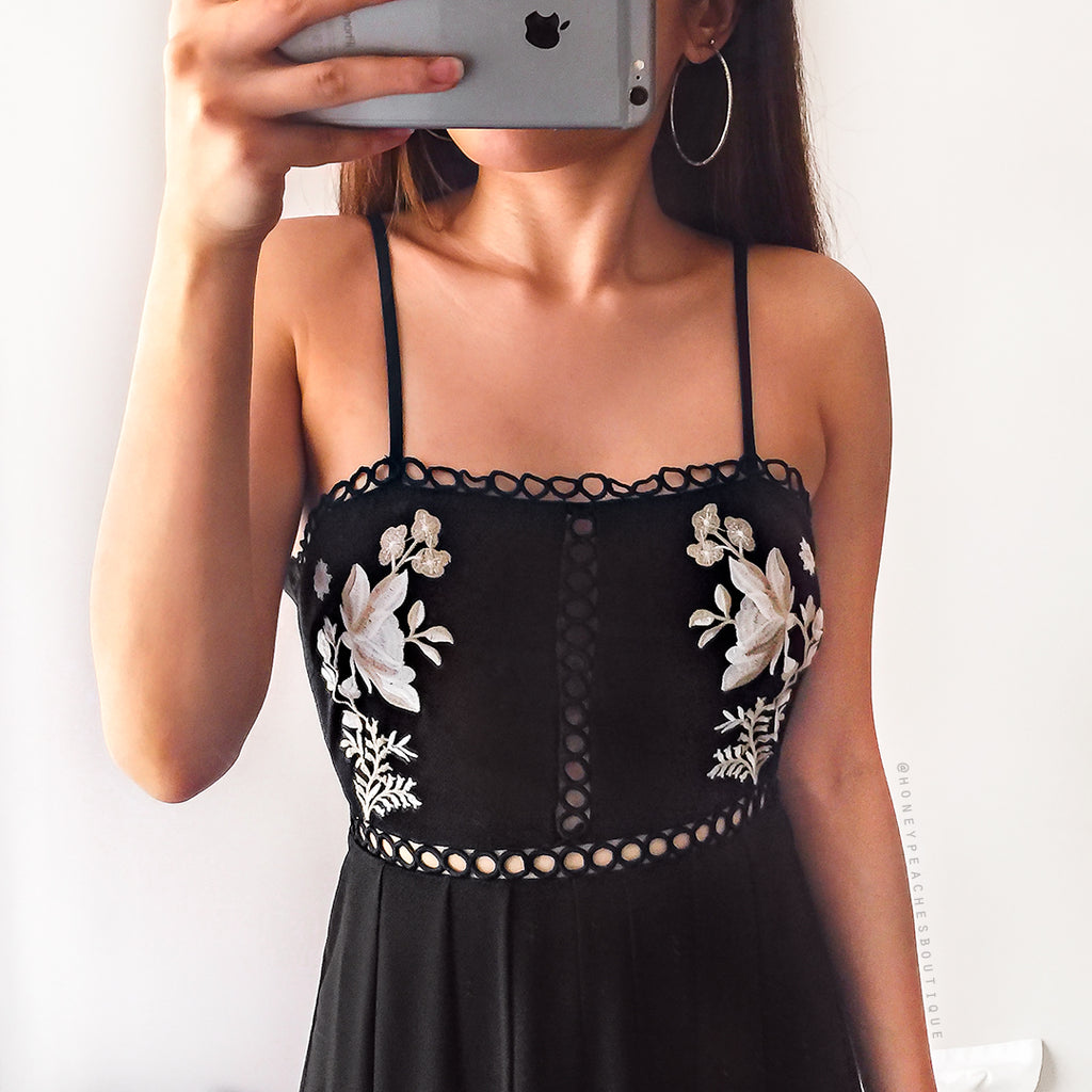 To Be Free Maxi Playsuit - Black