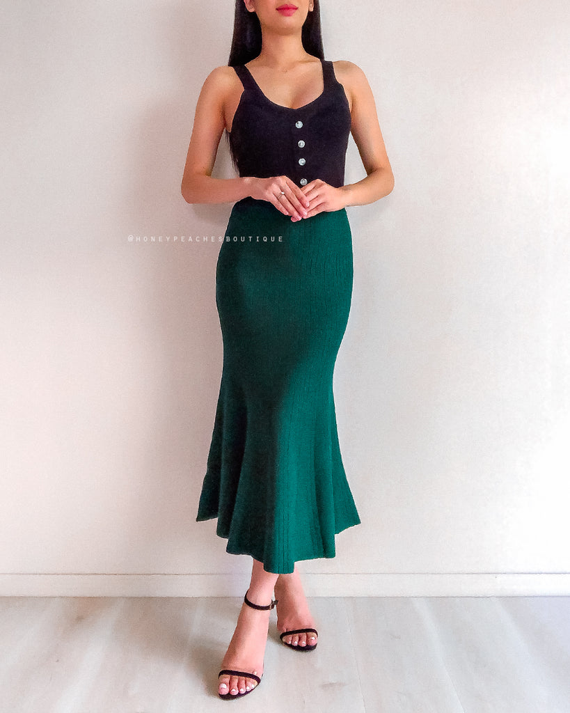 Reese Knit Midi Skirt - Emerald Green
