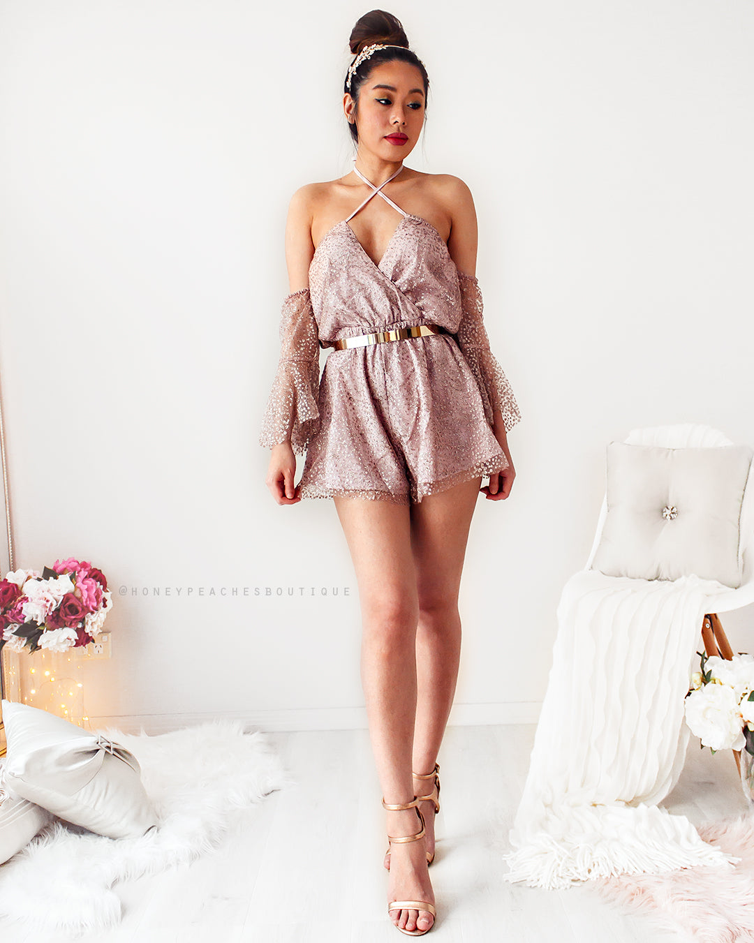 Details about Ava Glitter Playsuit - Rose Gold