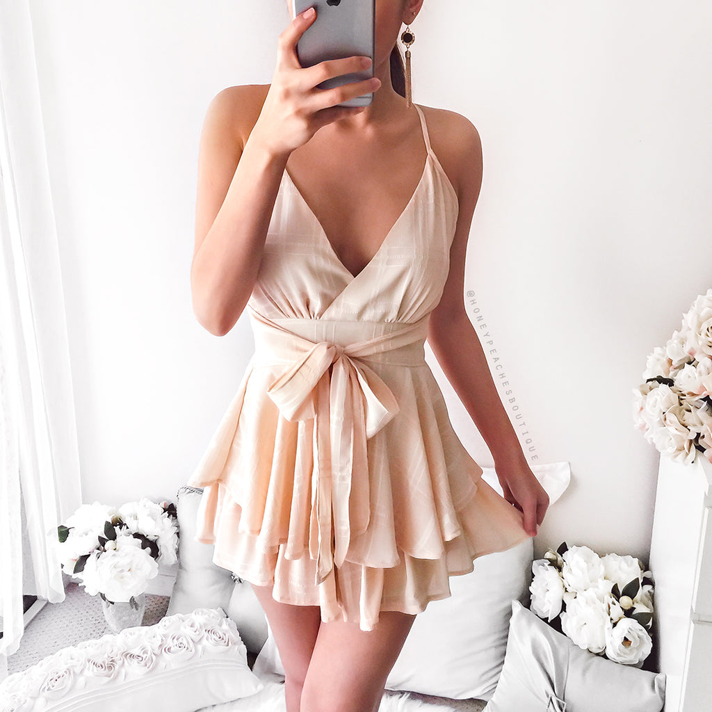 Walking On Sunshine Playsuit - Light Peach
