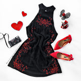 Secret Garden Embroidered Dress - Black / Red
