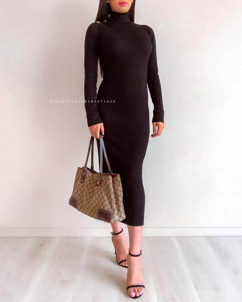Carli Midi Knit Dress - Black