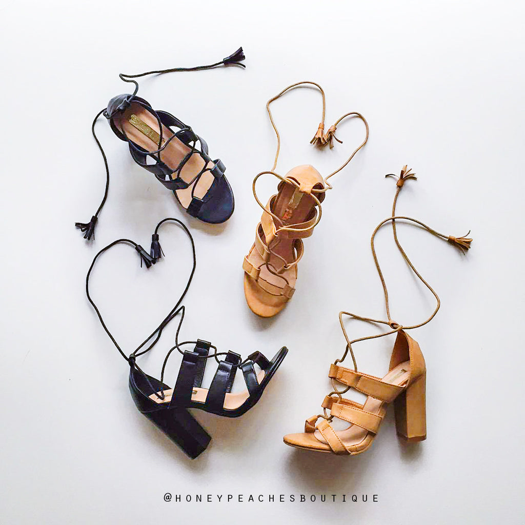 Pardon Tan Laced Up Heels by Billini