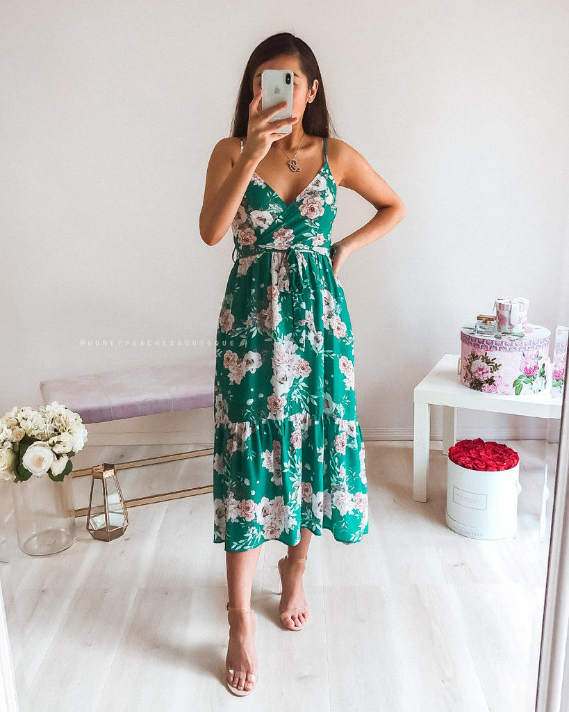 Diana Midi Dress - Green Floral