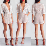 Still Falling For You Lace Playsuit - White
