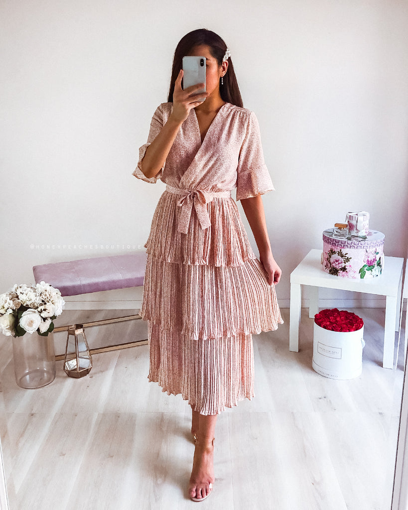 Claire Midi Dress - Blush Print