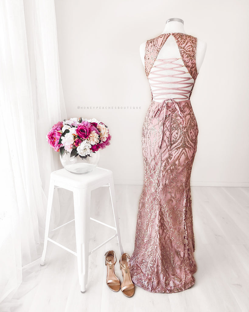 Lola Glitter Maxi Dress - Rose Gold