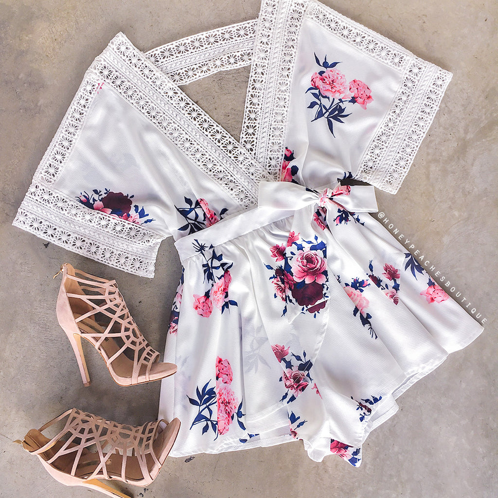 Sugar Rush Playsuit - White Floral