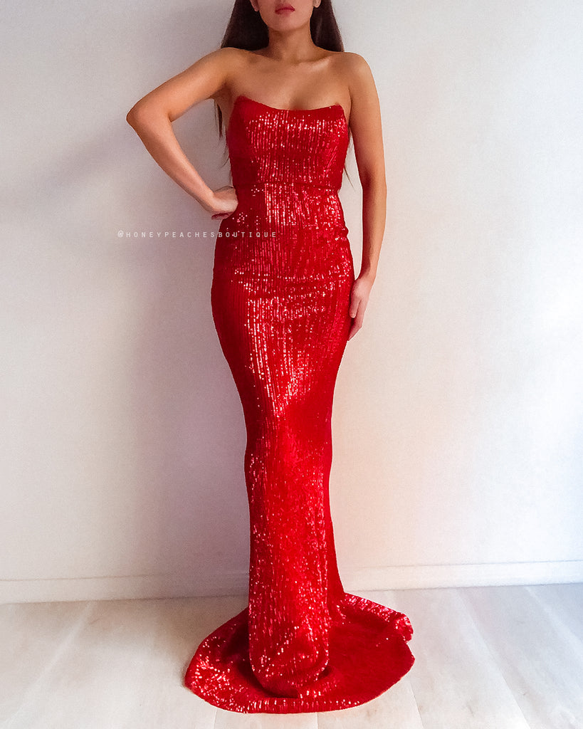 Is This Love Sequin Maxi Dress - Red