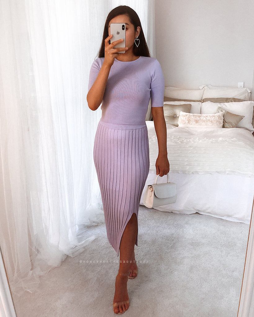 Sienna Knit Crop Top - Lilac