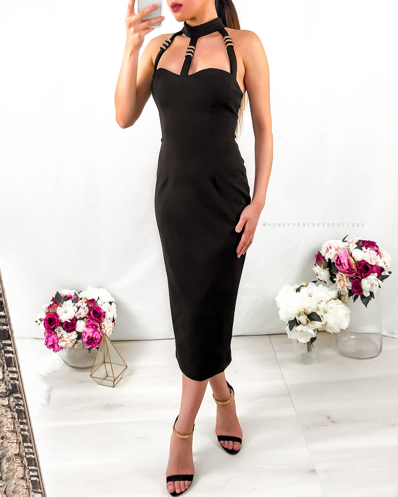 Persephone Midi Dress - Black