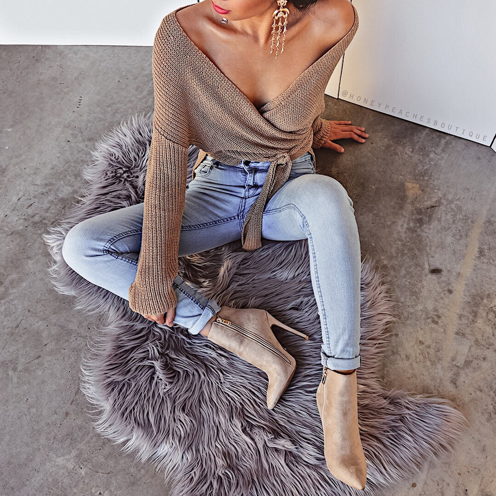Top That Wrap Knit Sweater - Tan