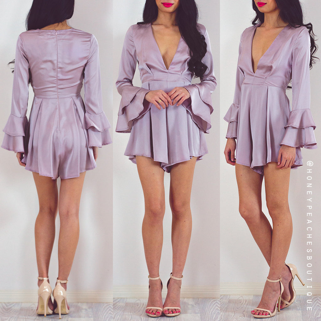 We Fell In Love Playsuit - Light Dusty Mauve