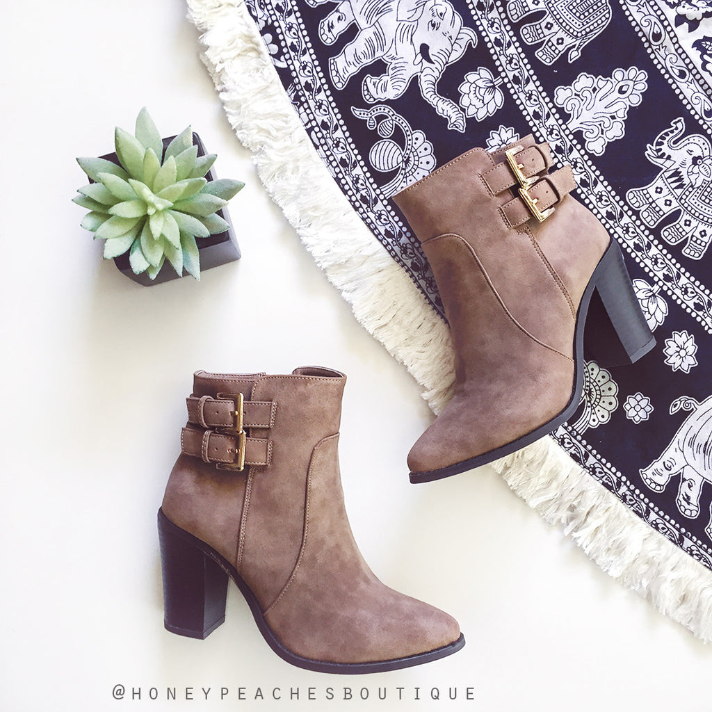 Iyla Taupe Nubuck Ankle Boots by Billini