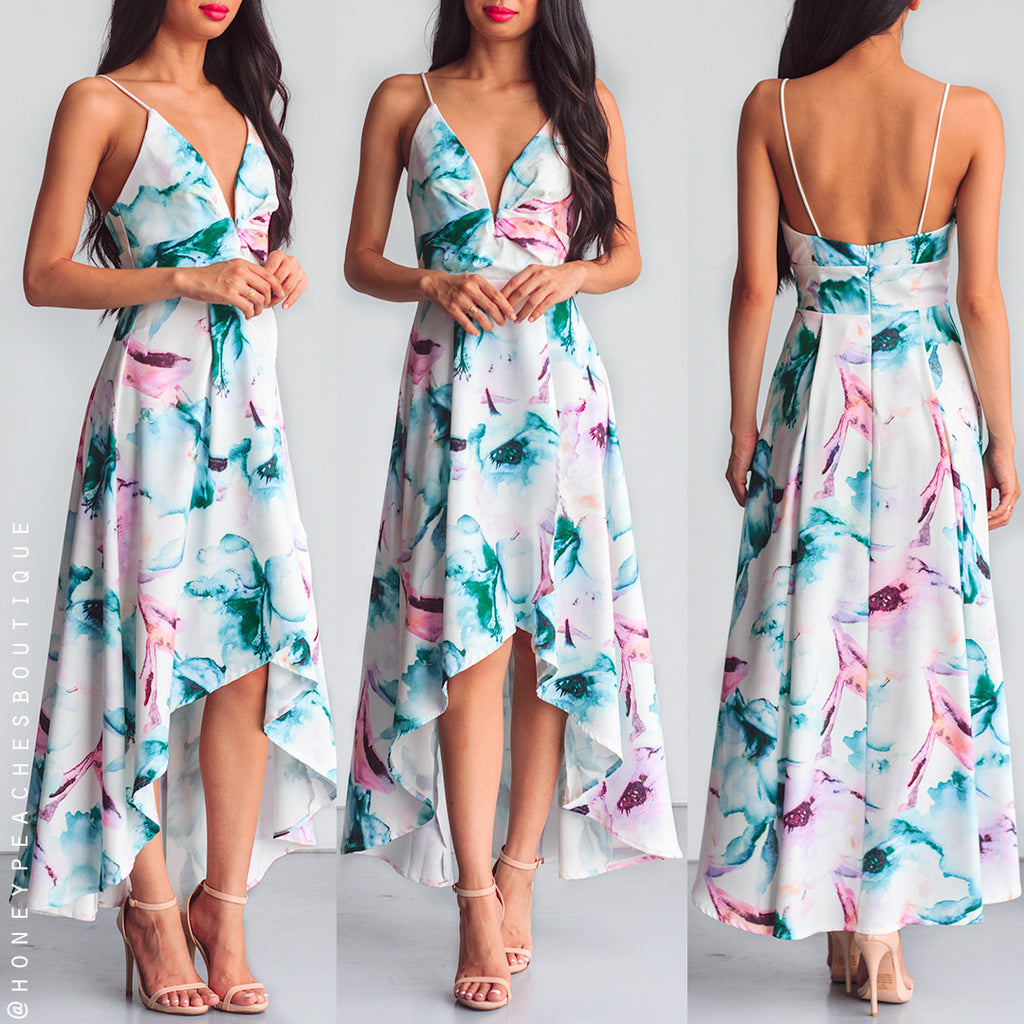 Mesmerised By You Dress - Green Print