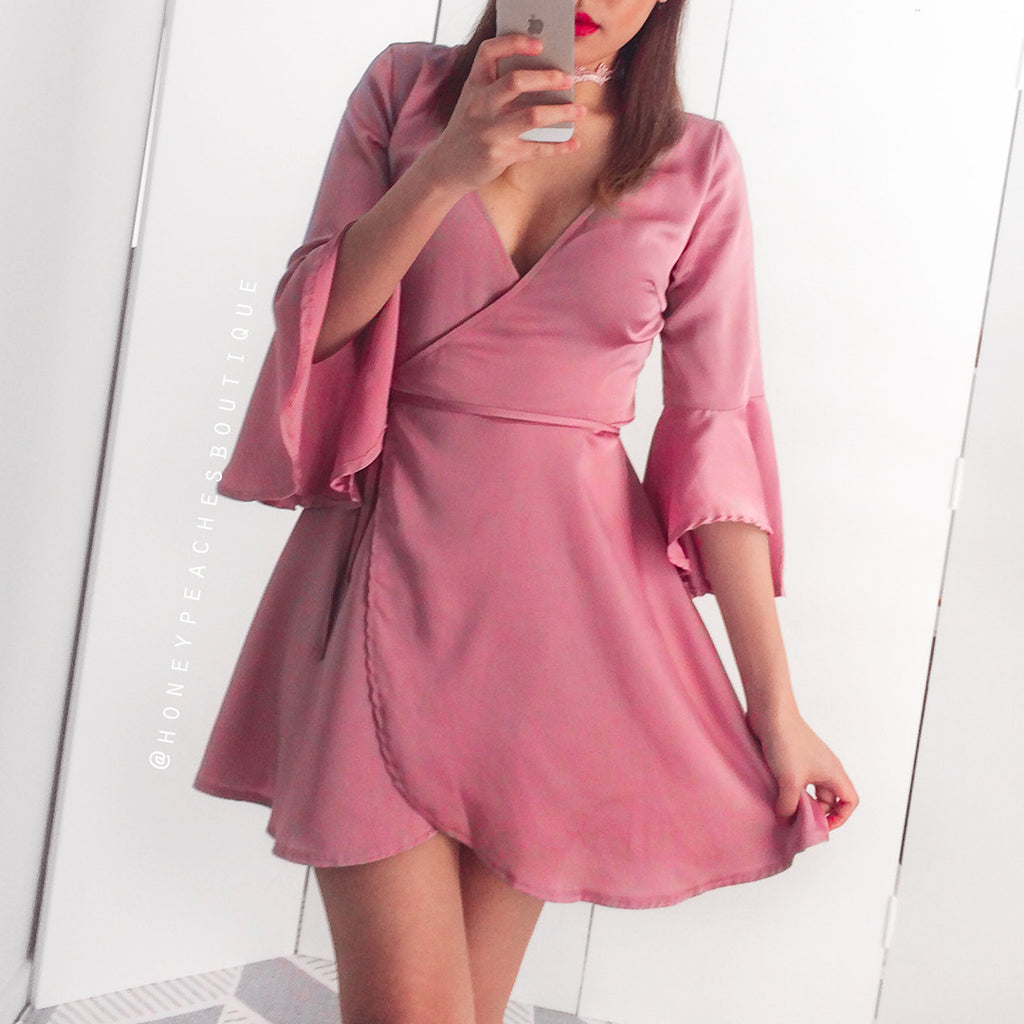 Say No More Wrap Dress - Deep Dusty Pink