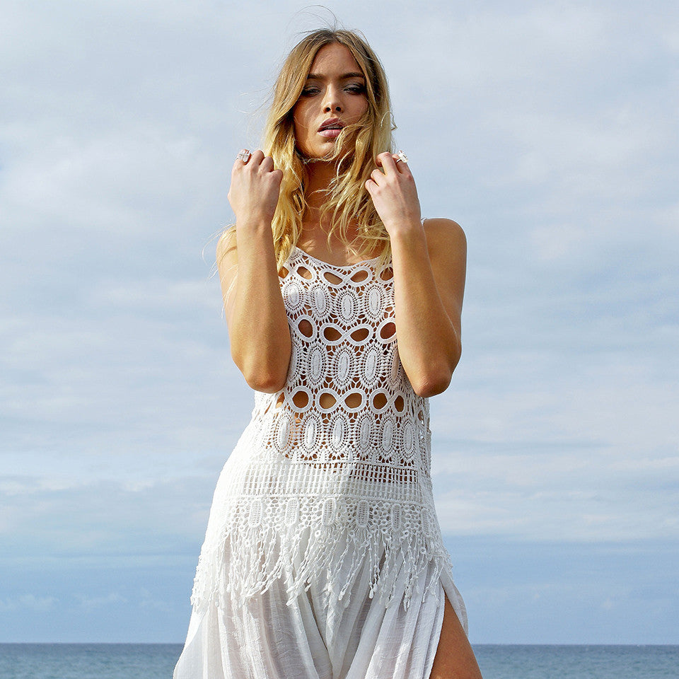 Mimi Tassel Top - White by Le Salty Label